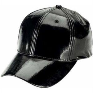 Black patent leather baseball cap